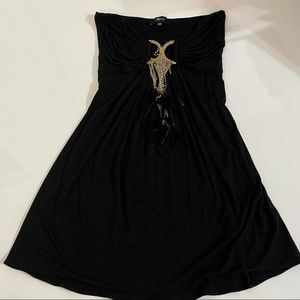 SKY Strapless Top with chains and feathers xs